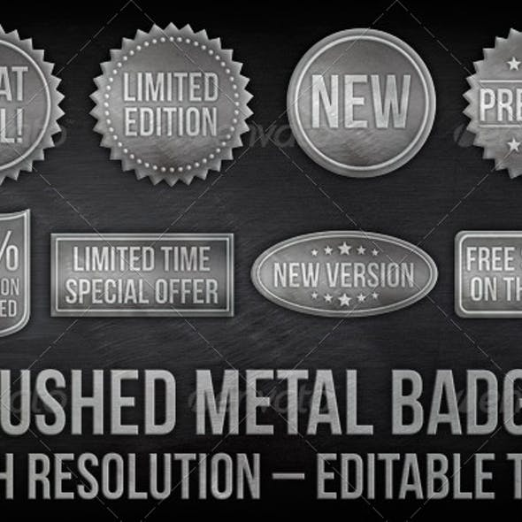8 Brushed Metal Badges With Editable Text
