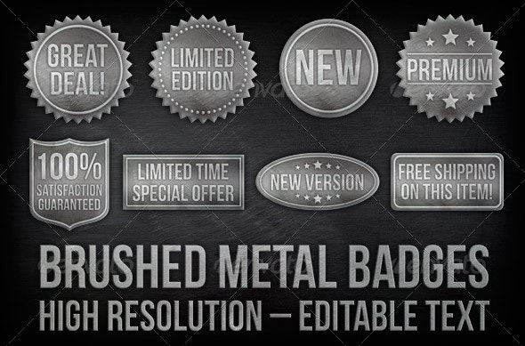 8 Brushed Metal Badges With Editable Text  - Badges & Stickers Web Elements