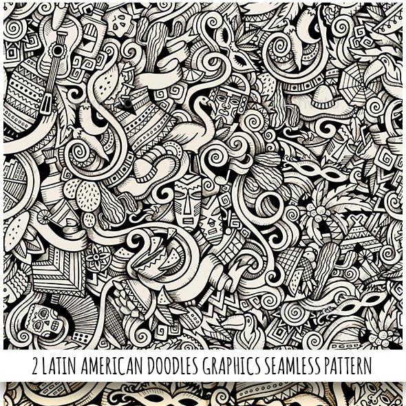 2 Latin America Doodles Graphics Seamless Patterns