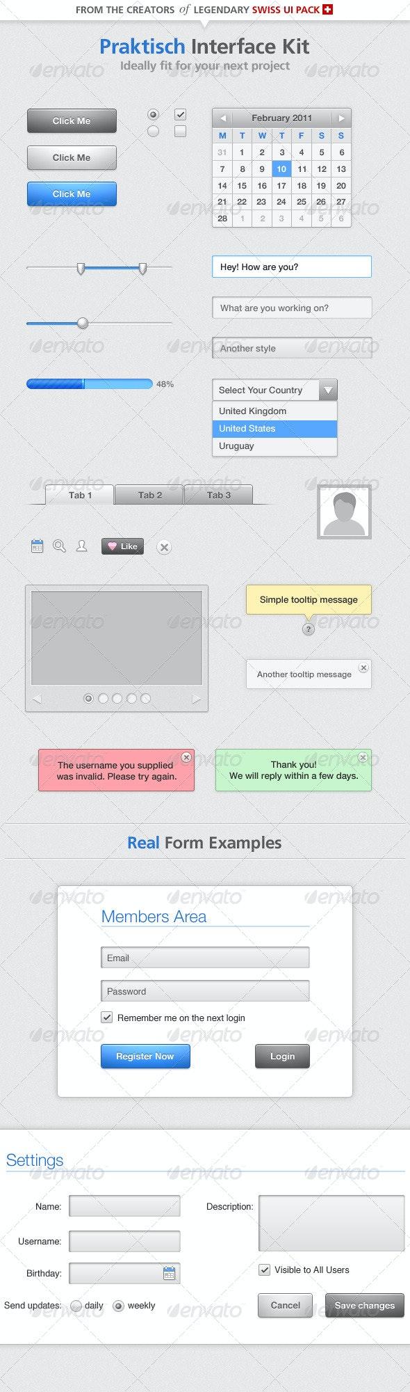 Praktisch Interface Kit - Miscellaneous Web Elements