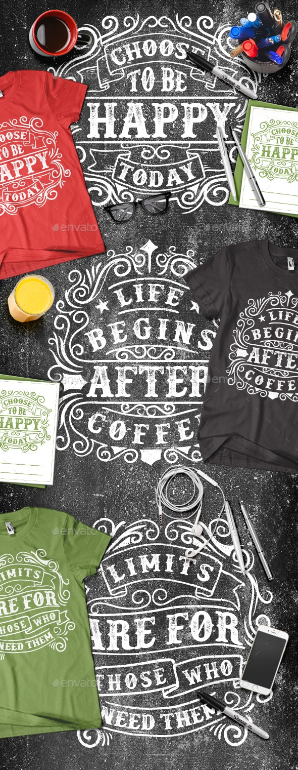 3 Modern Typography T-shirt - T-Shirts