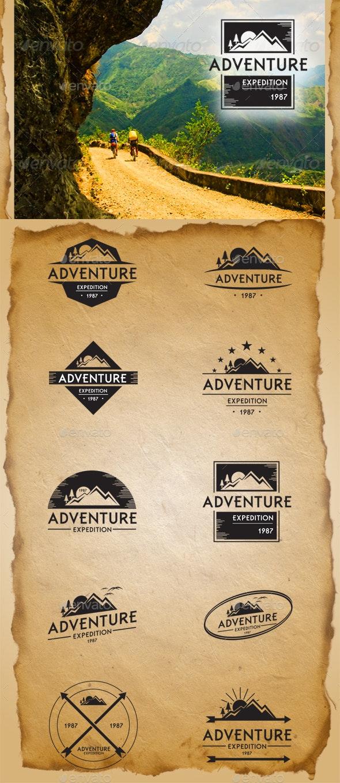 Retro Adventure Badges - Badges & Stickers Web Elements