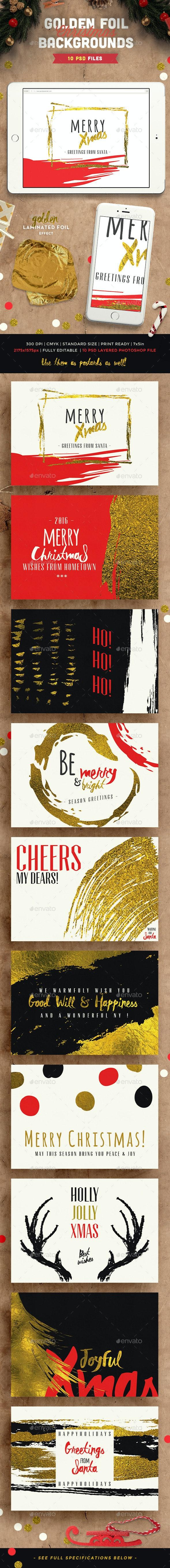 Golden Foil Christmas Backgrounds - Backgrounds Graphics