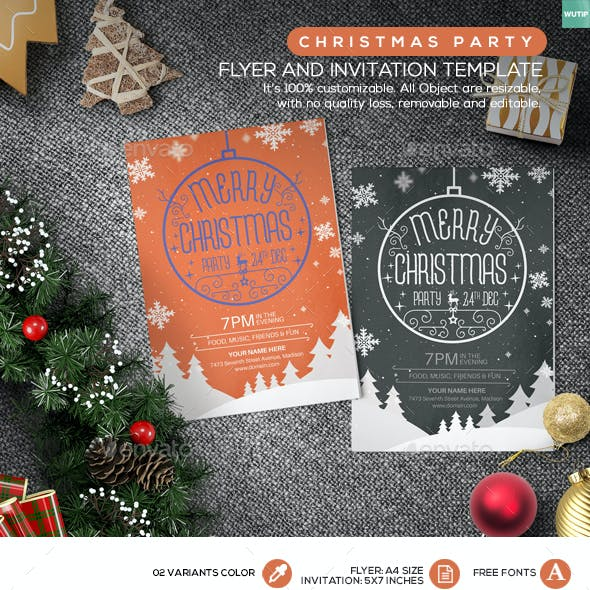 Christmas Party Flyer and Invitation Template