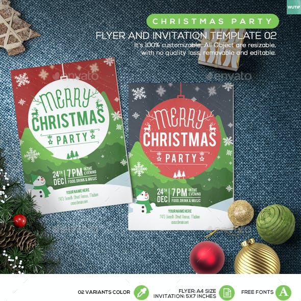 Christmas Party Flyer and Invitation Template 02
