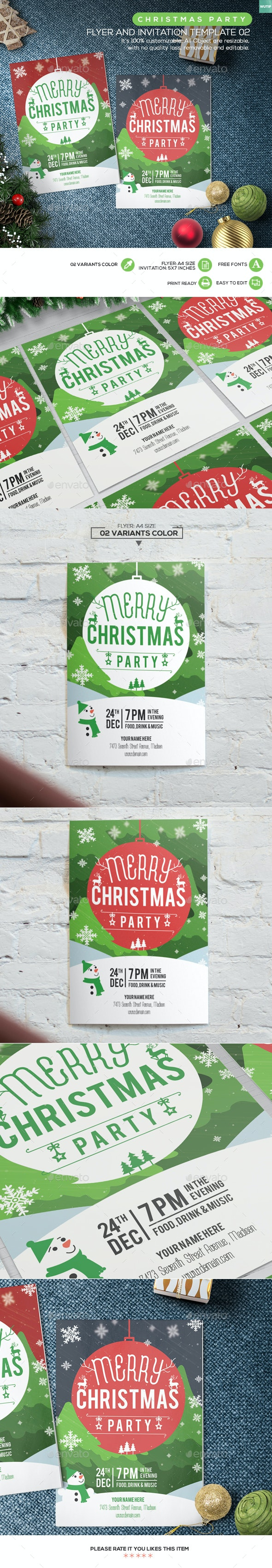 Christmas Party Flyer and Invitation Template 02 - Holidays Events