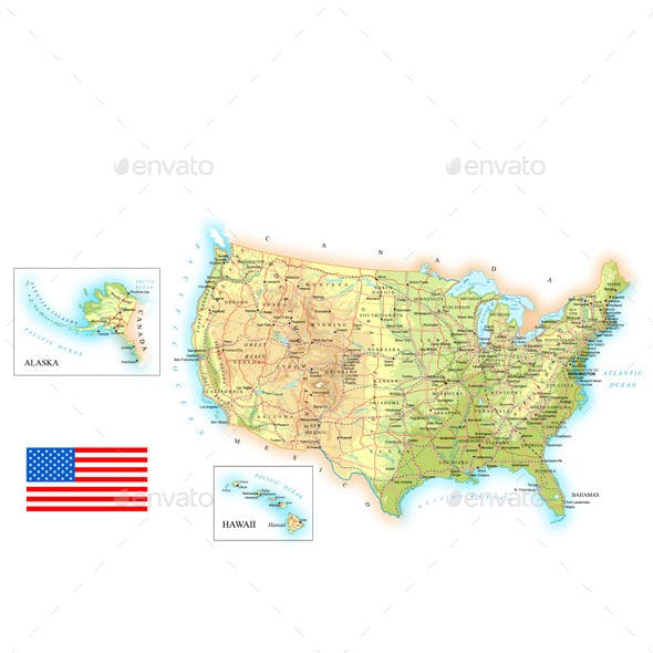 USA Detailed Topographic Map