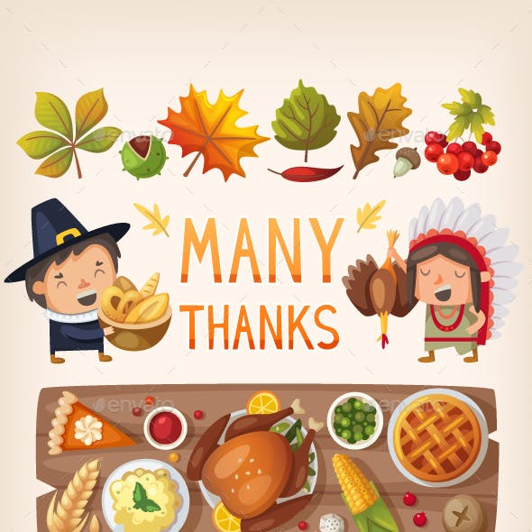 Thanksgiving Day Card Elements