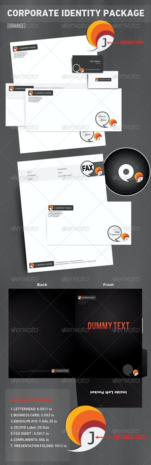 Corporate Identity Package [7 Set] - 'Orange' - Stationery Print Templates