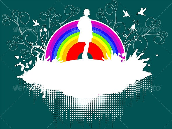 Lady in front of rainbow with birds - Miscellaneous Vectors