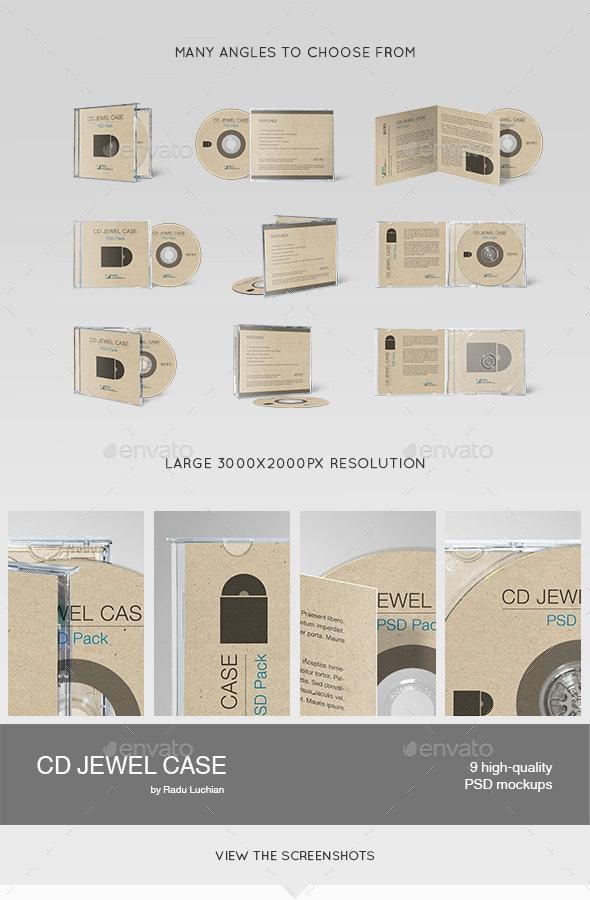 9 CD Jewel Case Mock-ups - Discs Packaging