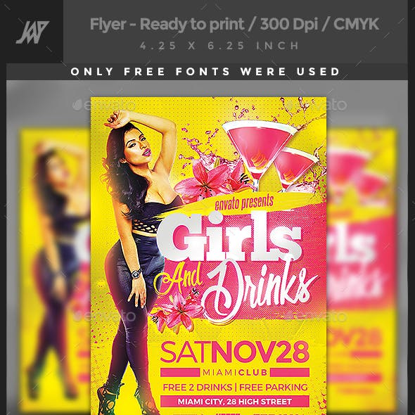 Girls & Drinks Party Flyer