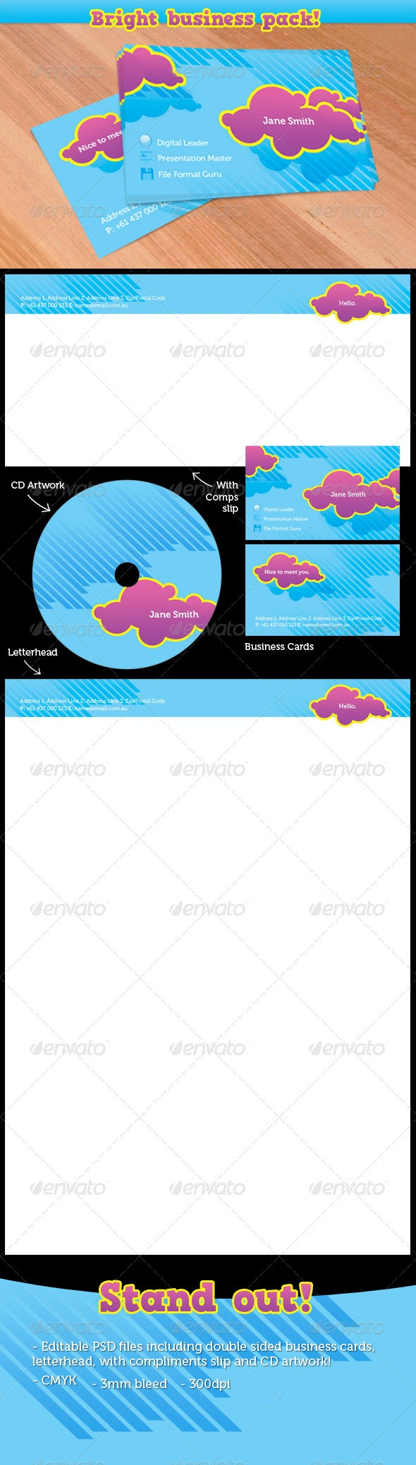 Bright Business Stationary - Stationery Print Templates