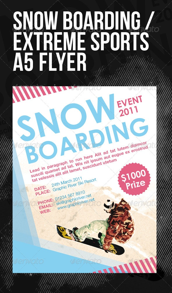 Snow Boarding / Extreme Sports A5 Flyer - Sports Events