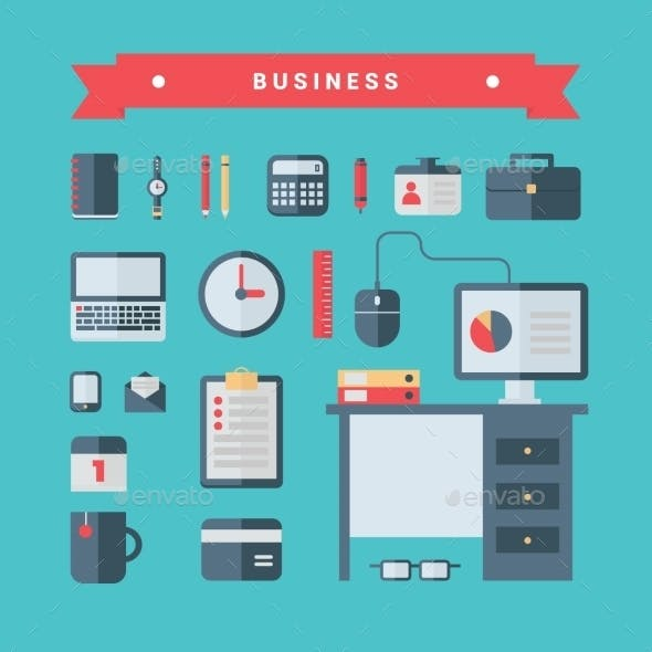 Set Of Flat Style Vector Business Icons