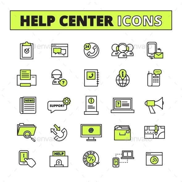 Call Center Icons Set - Technology Icons