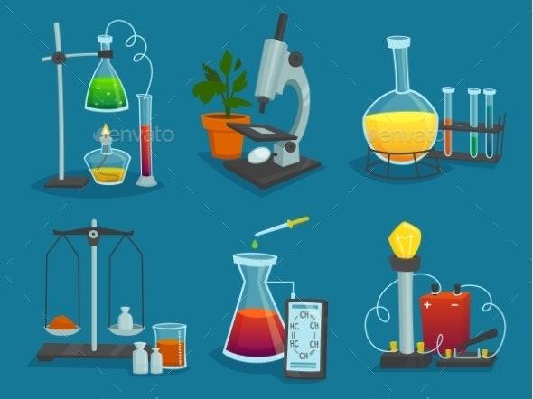 Design  Icons Set Of  Laboratory Equipment  - Decorative Symbols Decorative
