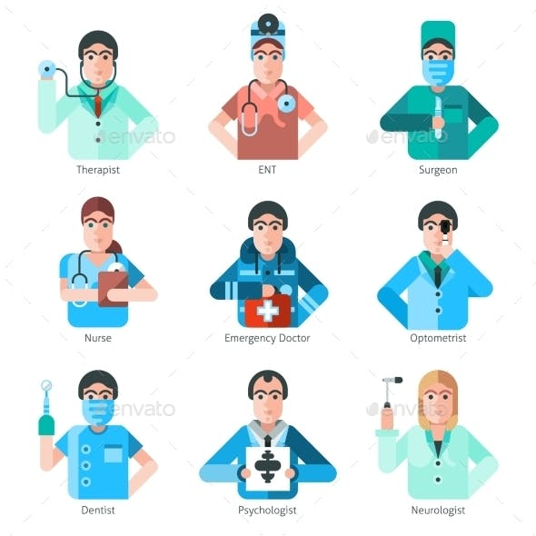 Doctor Character Icons Set