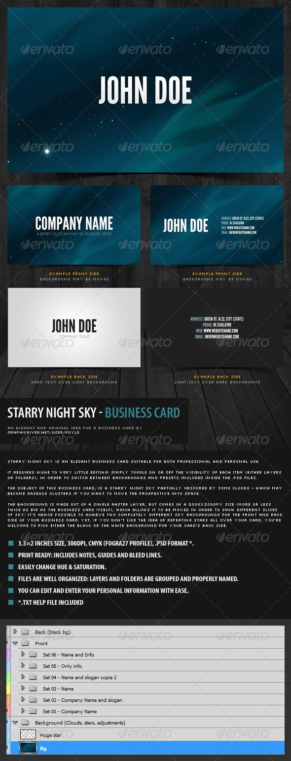 Starry Night Sky - Business Card - Creative Business Cards