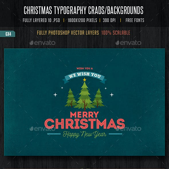 Typography Christmas Cards/ Backgrounds