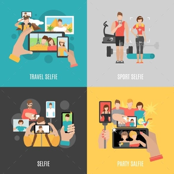 Selfies 4 Flat  Icons Square Banner
