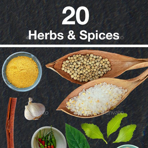 20 Isolated Food Images - Herbs and Spices