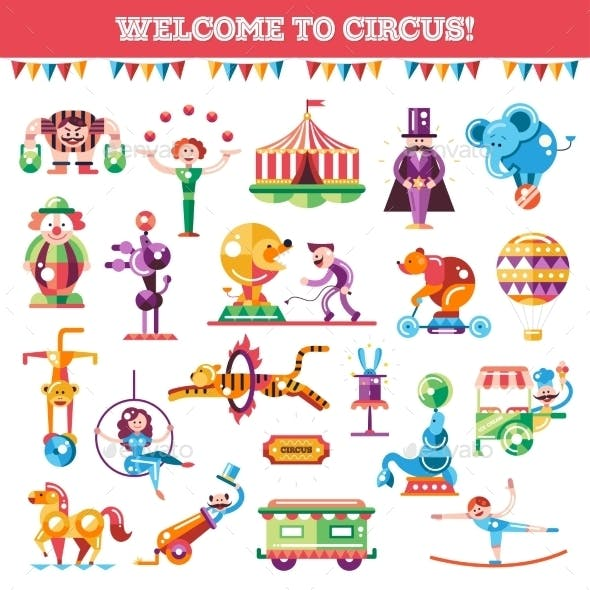 Flat Design Circus And Carnival Icons Set