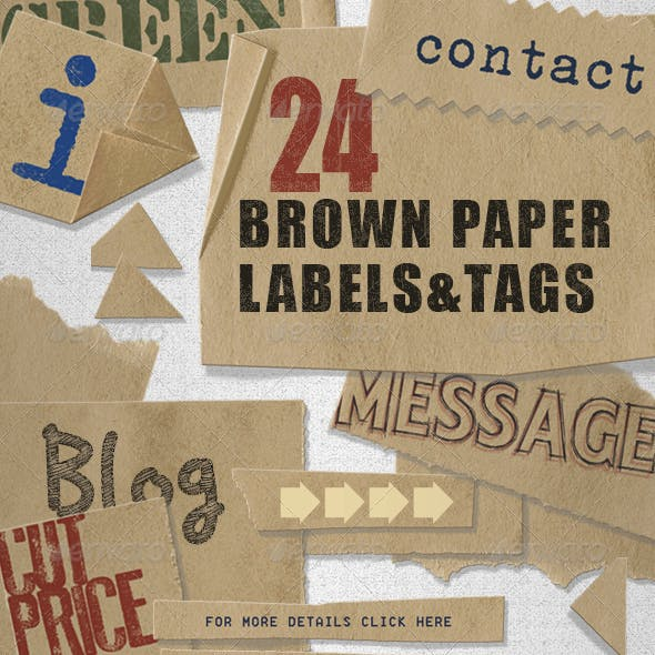 Brown Paper Labels & Tags - assorted shapes