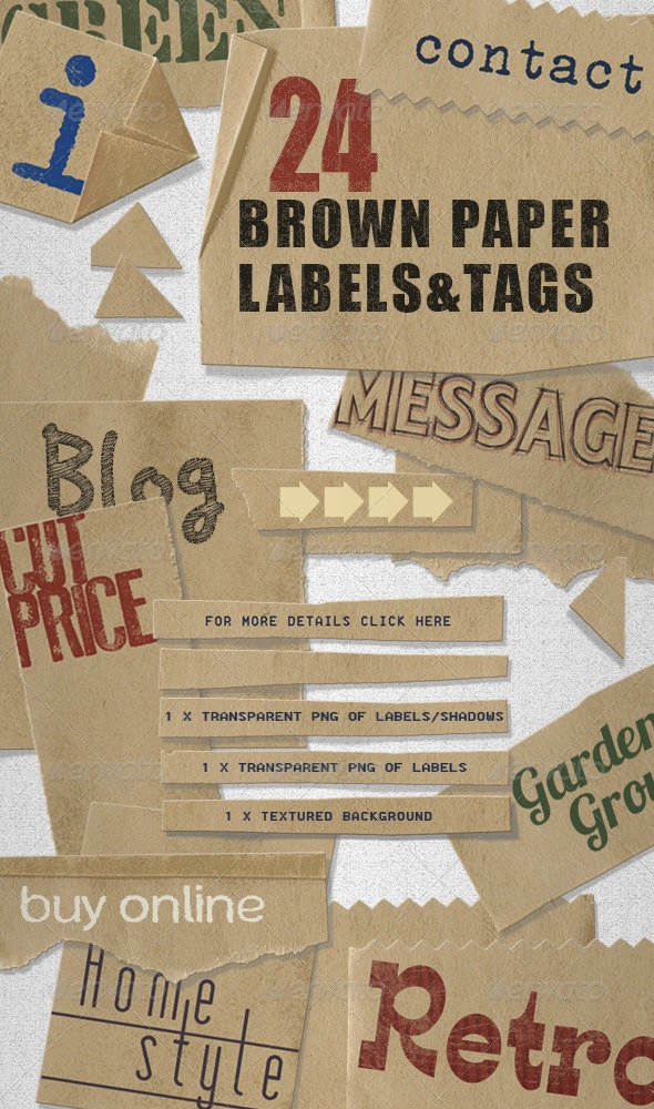Brown Paper Labels & Tags - assorted shapes  - Miscellaneous Graphics