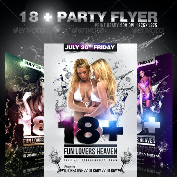 18 + Party / Event Flyer  Template