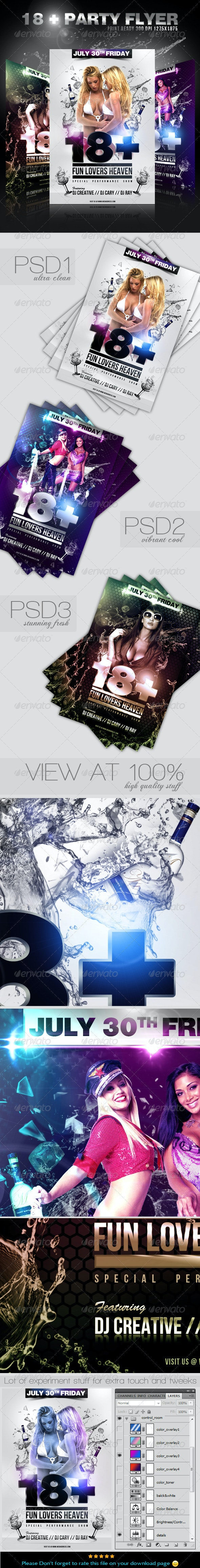 18 + Party / Event Flyer  Template - Clubs & Parties Events