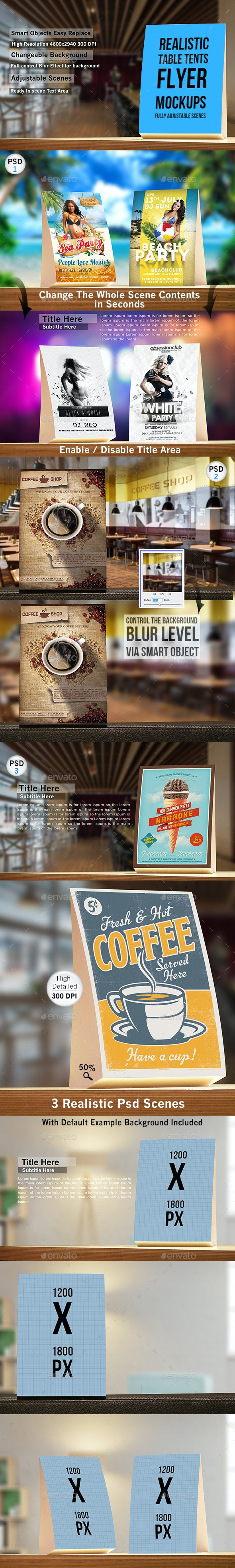 Realistic Table Tents Flyer Mockups - Miscellaneous Print