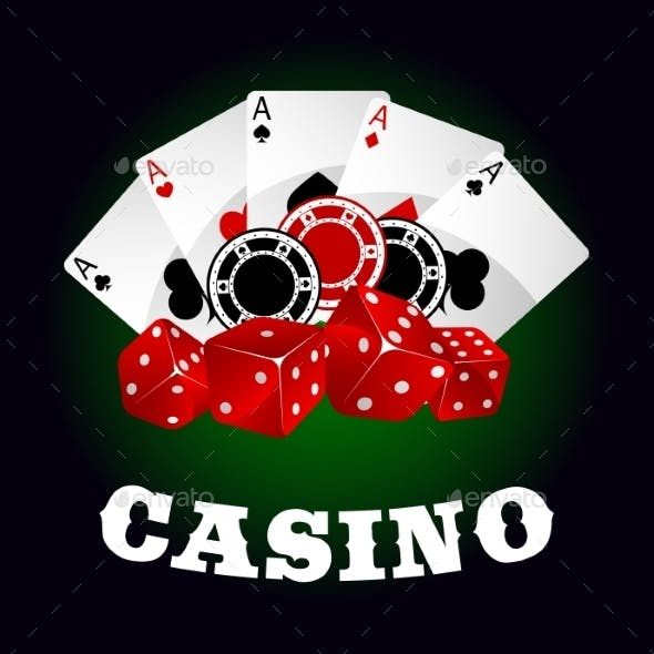 Casino Icon With Dice, Chips And Poker Aces