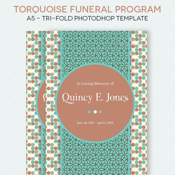 Turquoise A5 Tri-Fold Funeral Program Template