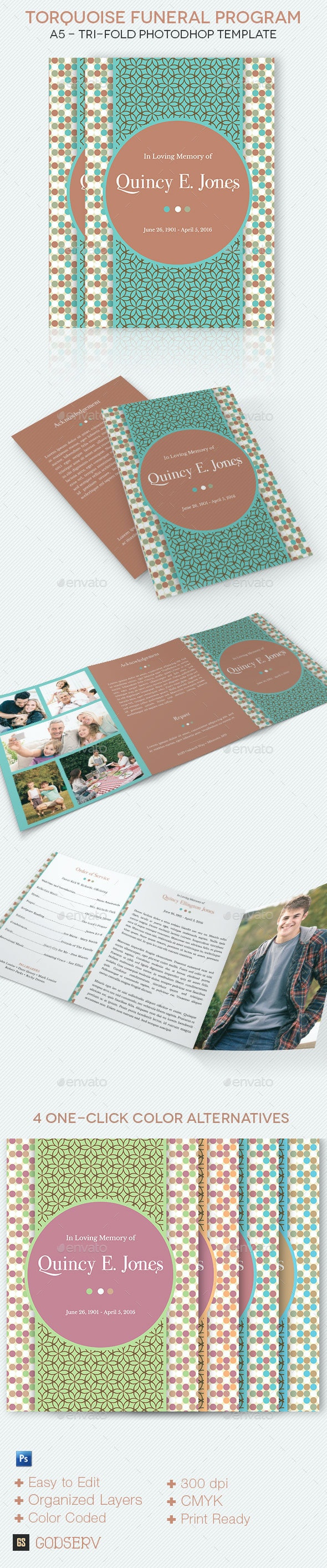 Turquoise A5 Tri-Fold Funeral Program Template - Informational Brochures