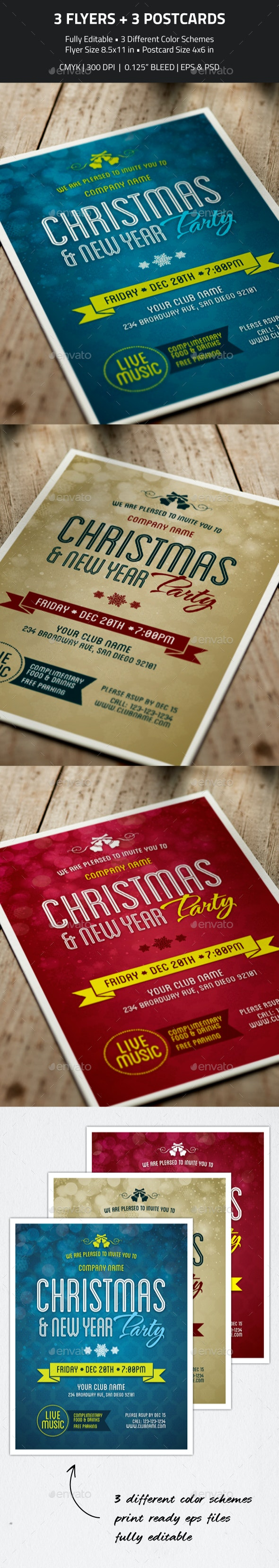 Christmas, New Year Party Flyer & Invitation - Holidays Events