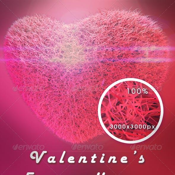 Valentine's Fuzzy 3d Hearts