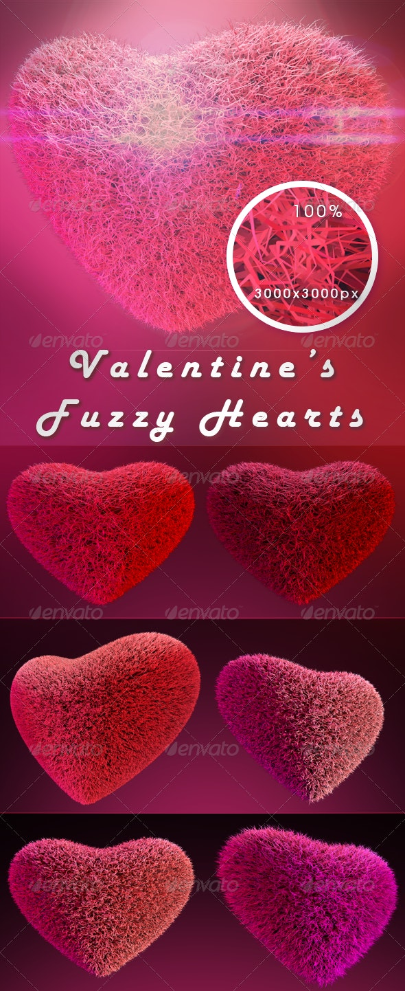 Valentine's Fuzzy 3d Hearts - Miscellaneous Backgrounds