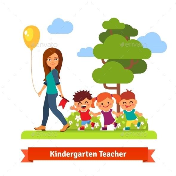 Kindergarden Teacher Walking With Kids