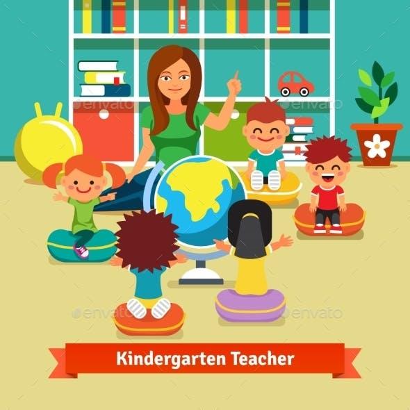 Kindergarden Teacher Teaching Kids Geography