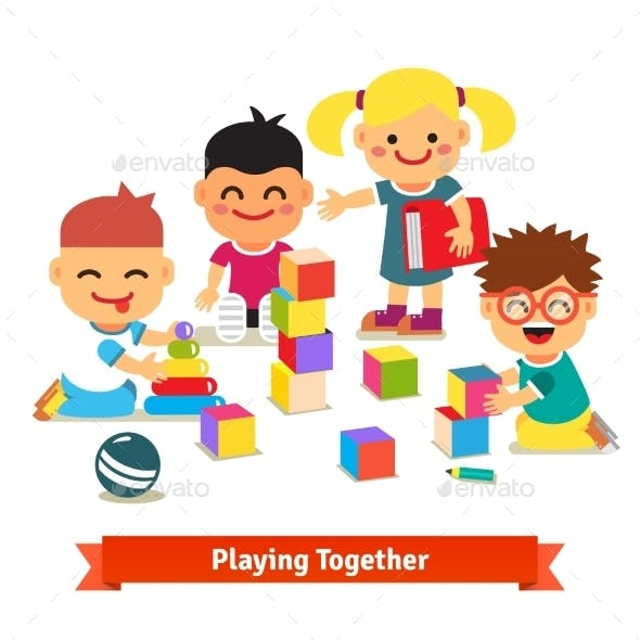 Kids Playing With Toys In Kindergarten Room