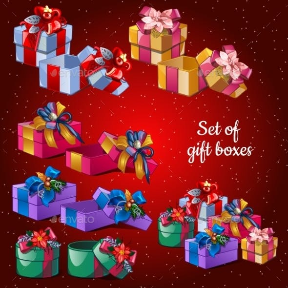 Postcard Holiday Christmas Set Festive Boxes