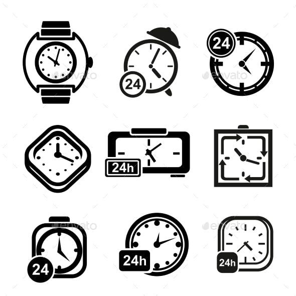 Clocks, Wristwatches And Alarm Clocks Icons