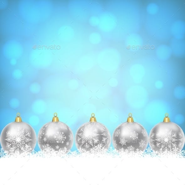 Christmas Balls On Shiny Blue Background