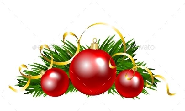 Christmas Balls With Fir Tree Branch - Christmas Seasons/Holidays
