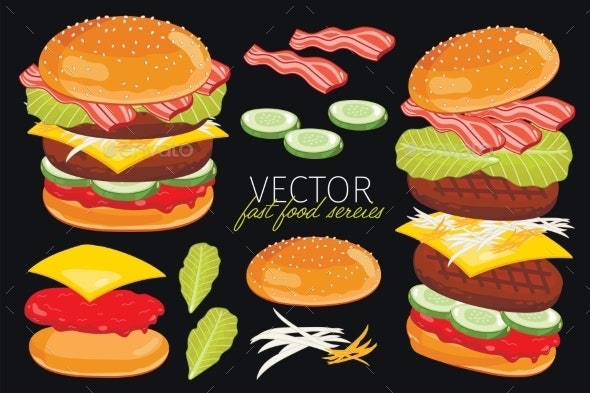 Vector Burgers Isolated On Black Background.  - Food Objects