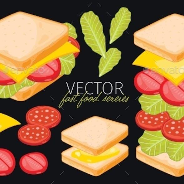 Sandwich on Black Background