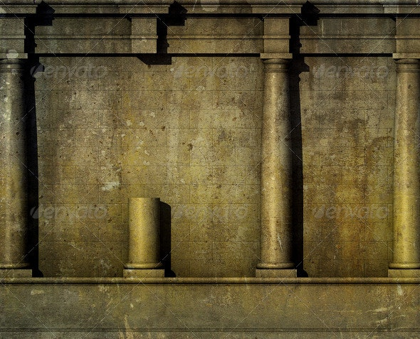 3D Antique Classic Architecture Greek Roman Wall  - Architecture 3D Renders