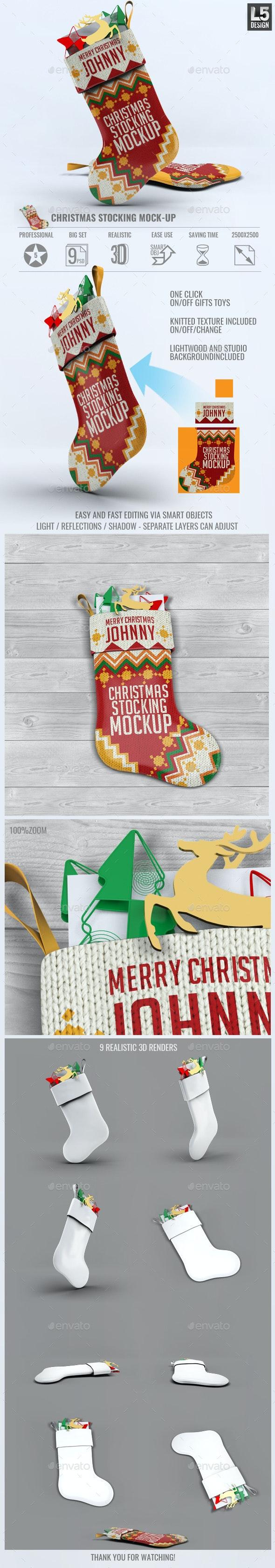 Christmas Stocking Mock-Up - Miscellaneous Product Mock-Ups