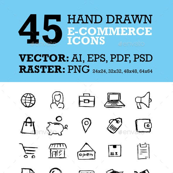 45 Hand Drawn E-Commerce Icons